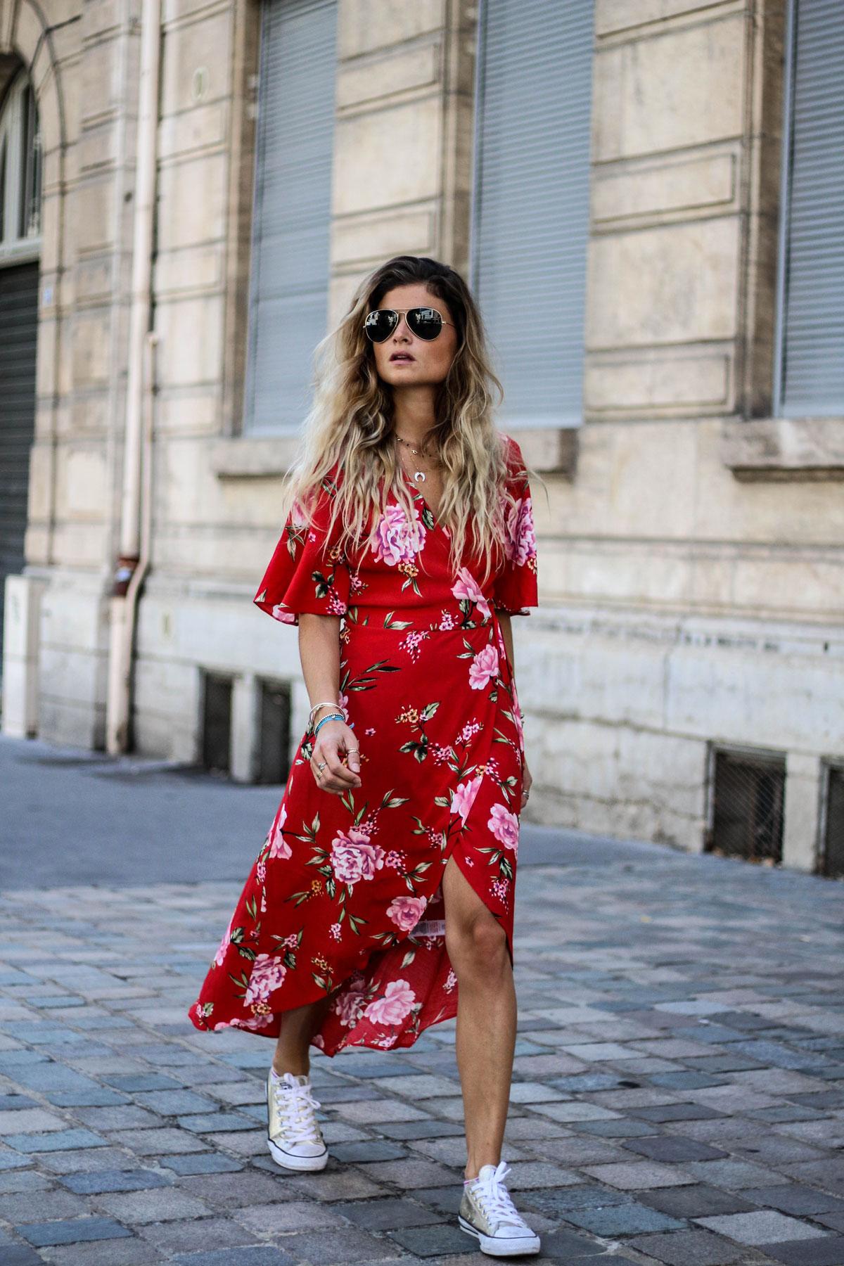 robe rouge à fleurs blog mode marieandmood