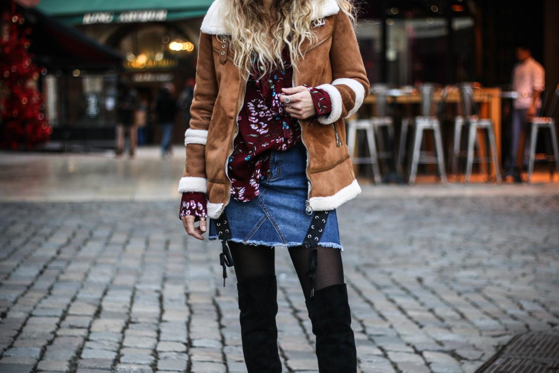 jupe en jeans lace up boohoo