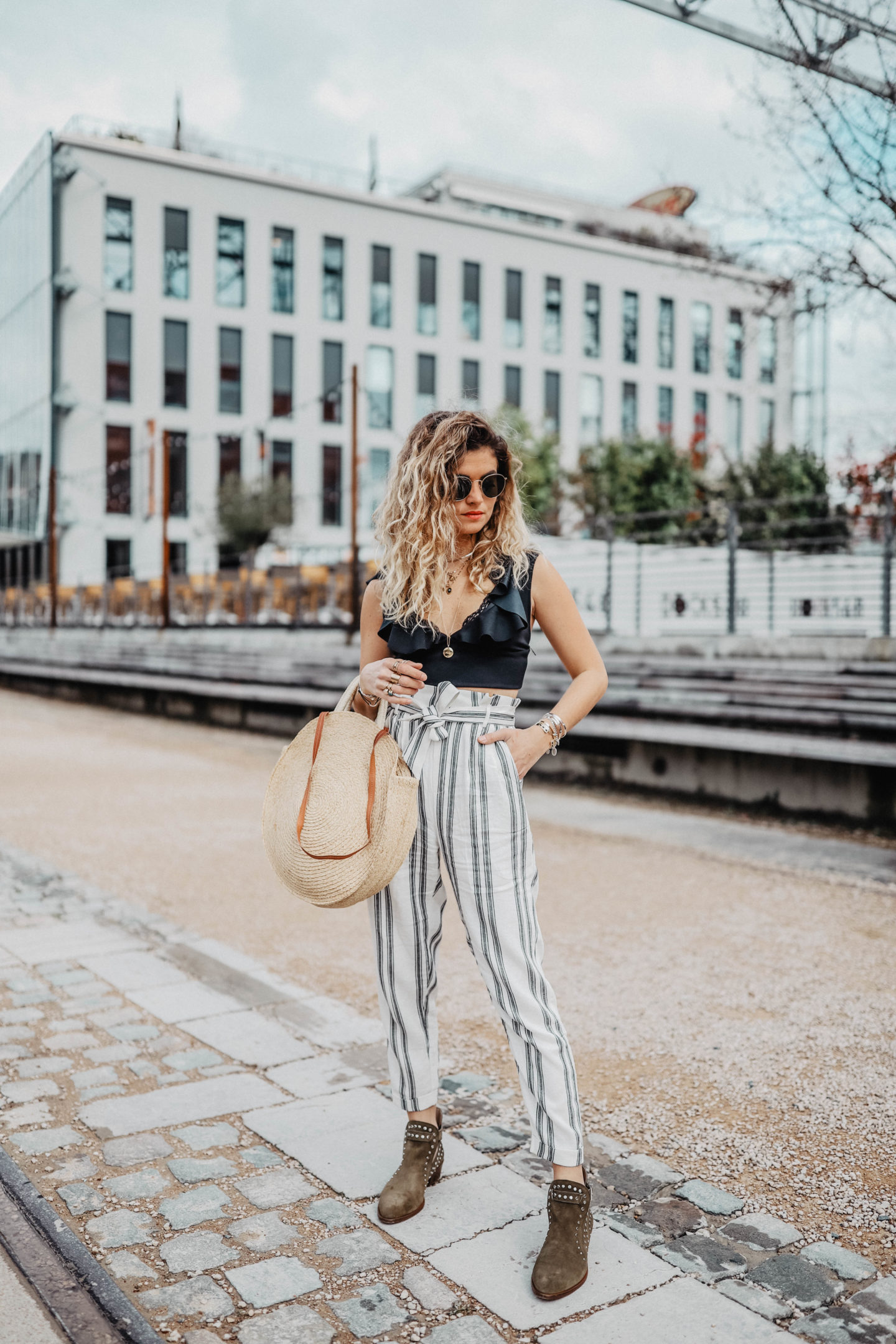 Combo crop top et pantalon taille haute mode femme marie and mood