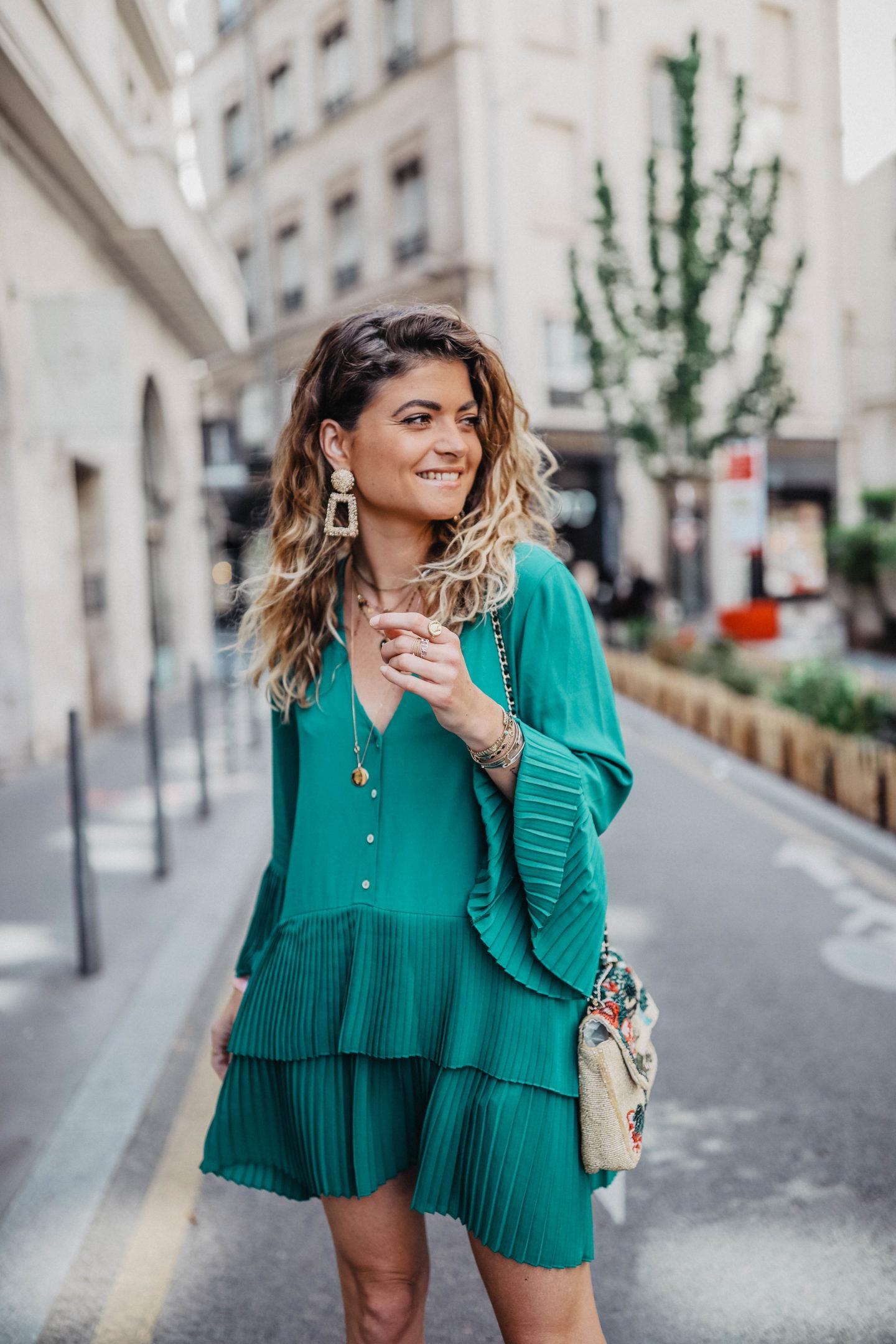 Robe verte Zara marie and mood blog mode