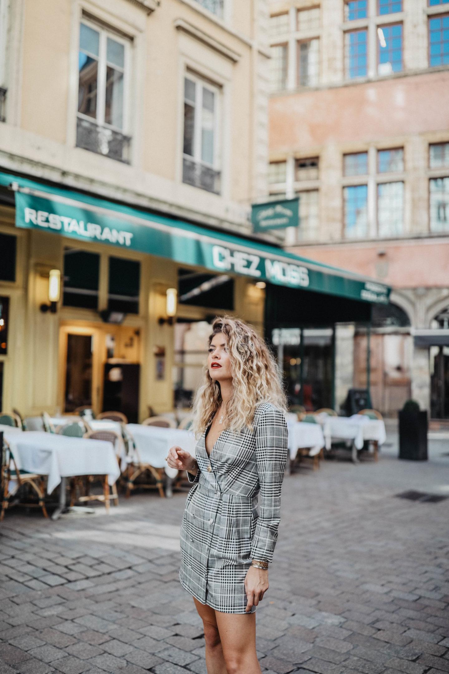 Robe blazer à carreaux Zara marie and mood blog mode