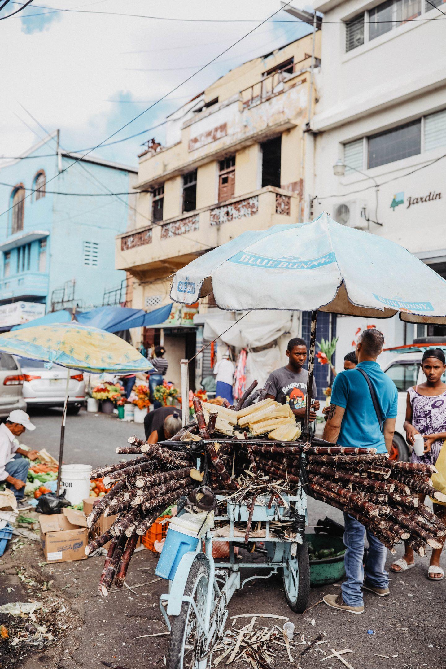 Vendeurs de sucre de cannes marché de saint domingue