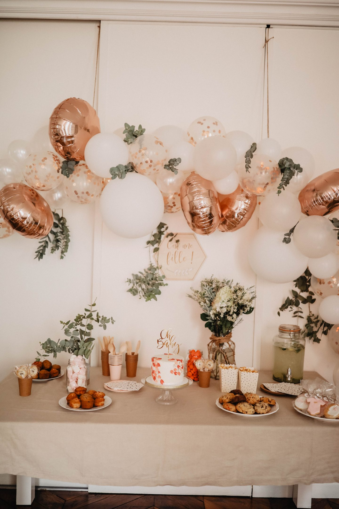 Arche de ballons baby shower marieandmood